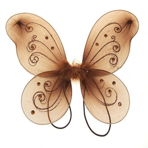 Organza Nylon Butterfly Wings with Glitters, 12-Inch, Brown