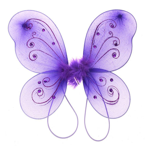 Organza Nylon Butterfly Wings with Glitters, 12-Inch, Purple