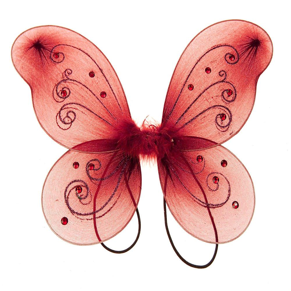Organza Nylon Butterfly Wings with Glitters, 12-Inch, Red