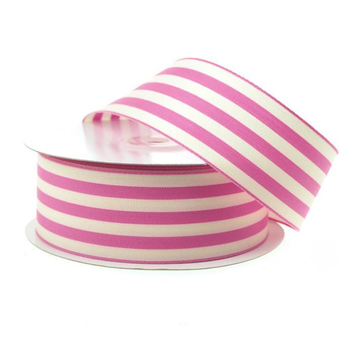 Striped Cotton Ivory Ribbon, 1-1/2-Inch, 25 Yards, Pink