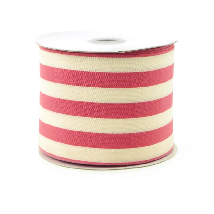 Striped Cotton Ivory Ribbon, 2-1/2-Inch, 10 Yards, Wine