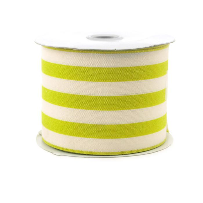 Striped Cotton Ivory Ribbon, 2-1/2-Inch, 10 Yards, Green