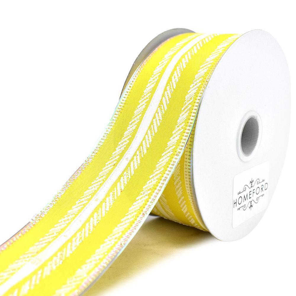 Feathered Stripes Iridescent Edge Satin Wired Ribbon, Yellow, 1-1/2-Inch, 10-Yard