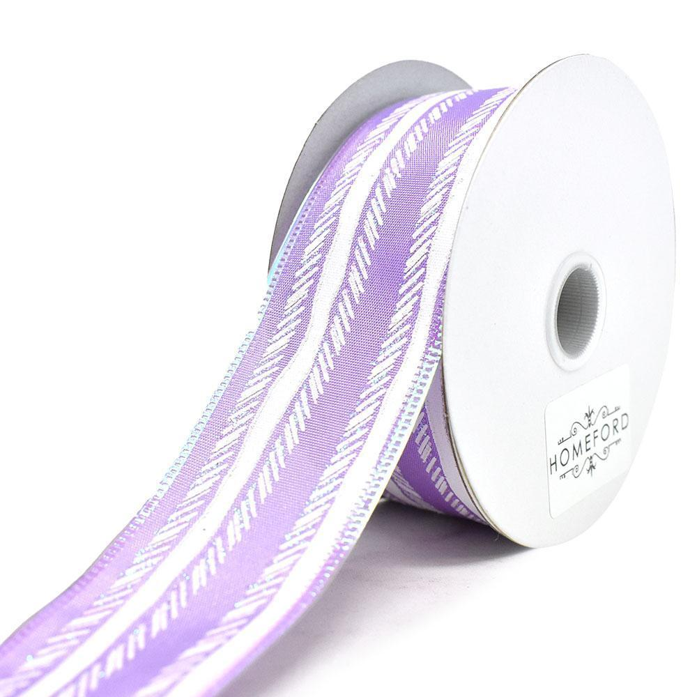 Feathered Stripes Iridescent Edge Satin Wired Ribbon, Purple, 1-1/2-Inch, 10-Yard