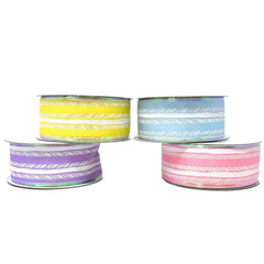 Feathered Stripes Iridescent Edge Satin Wired Ribbon, 1-1/2-Inch, 10-Yard