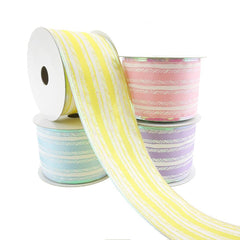 Feathered Stripes Iridescent Edge Satin Wired Ribbon, 2-1/2-Inch, 10-Yard
