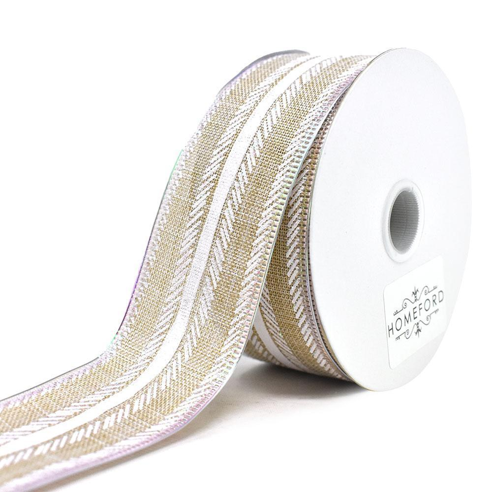 Feathered Stripes Iridescent Edge Linen Wired Ribbon, 1-1/2-Inch, 10-Yard