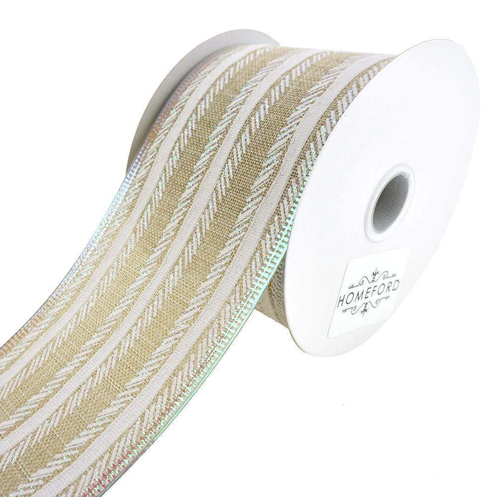 Feathered Stripes Iridescent Edge Linen Wired Ribbon, 2-1/2-Inch, 10-Yard