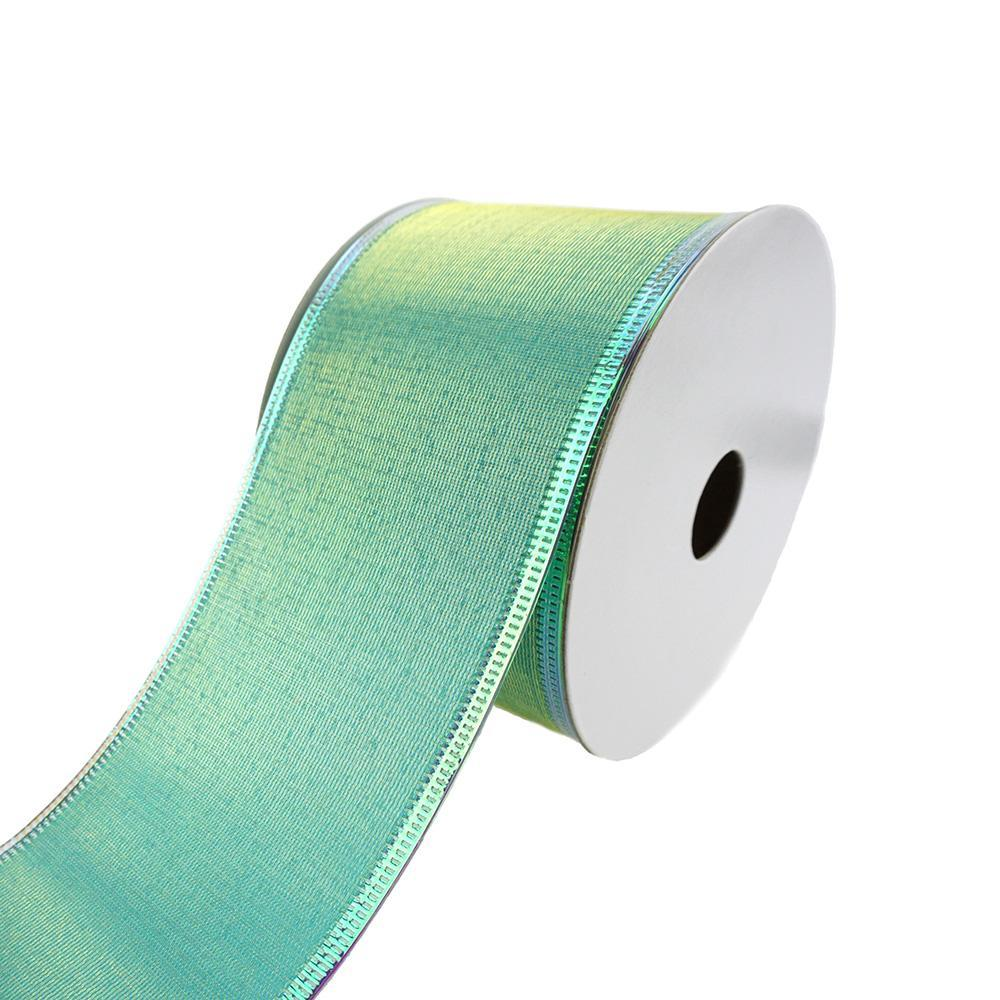 Two Toned Iridescent Satin Wired Ribbon, 2-1/2-Inch, 10-Yard, Green/Aqua