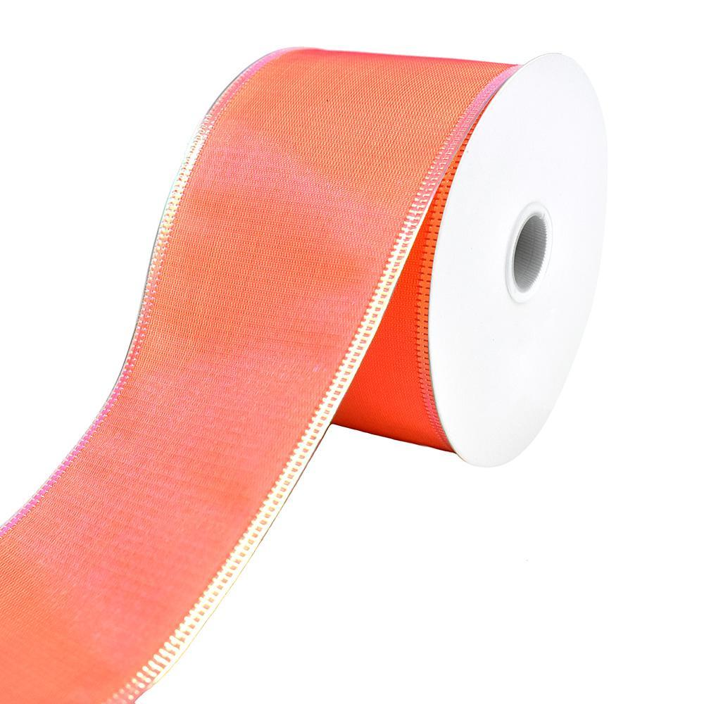 Two Toned Iridescent Satin Wired Ribbon, 2-1/2-Inch, 10-Yard, Coral/Fuchsia