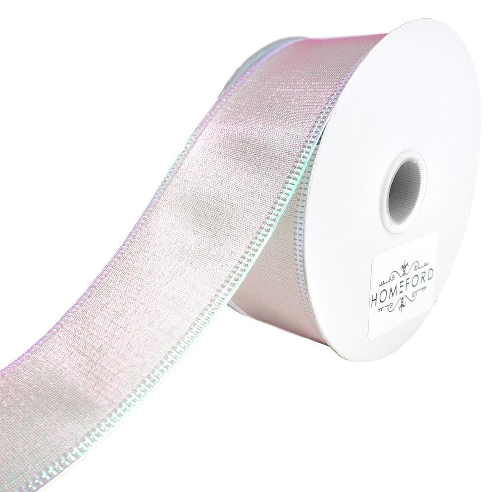 Two Toned Shiny Satin Wired Ribbon, Mint/Pink, 1-1/2-Inch, 10-Yard