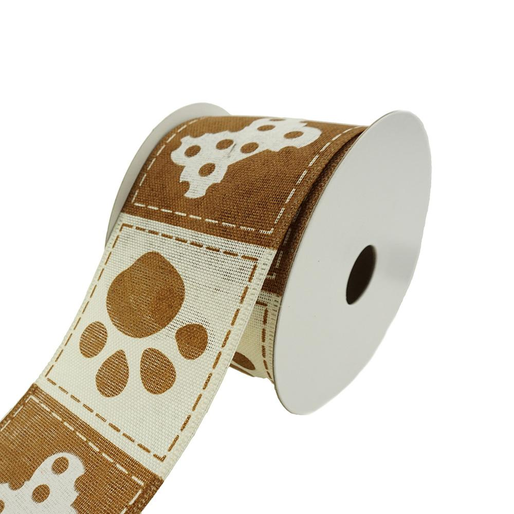 Doggie Paw Prints And Bones Wired Ribbon, 2-1/2-Inch, 10-Yard, Brown/Ivory