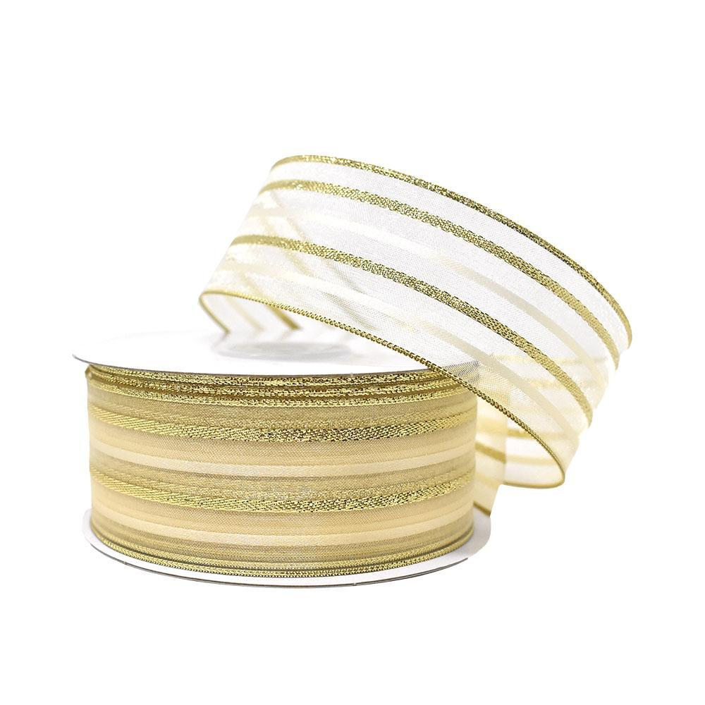 Metallic Stripe Sheer Wired Ribbon, Gold, 1-1/2-Inch, 25-Yard
