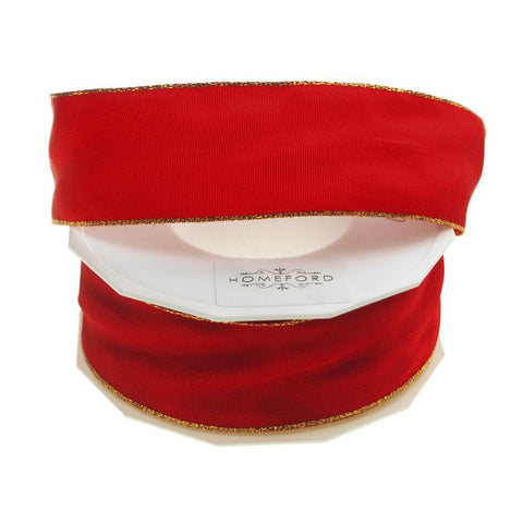 Gold Edge Taffeta Wired Ribbon, Made in Germany, 1-1/2-Inch, 27 Yards, Red