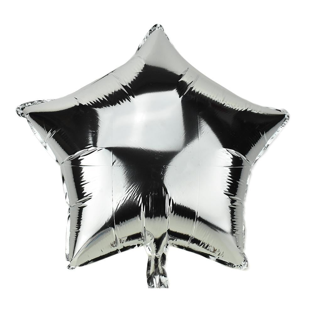 Star Shape Metallic Foil Balloon, 20-Inch, Silver
