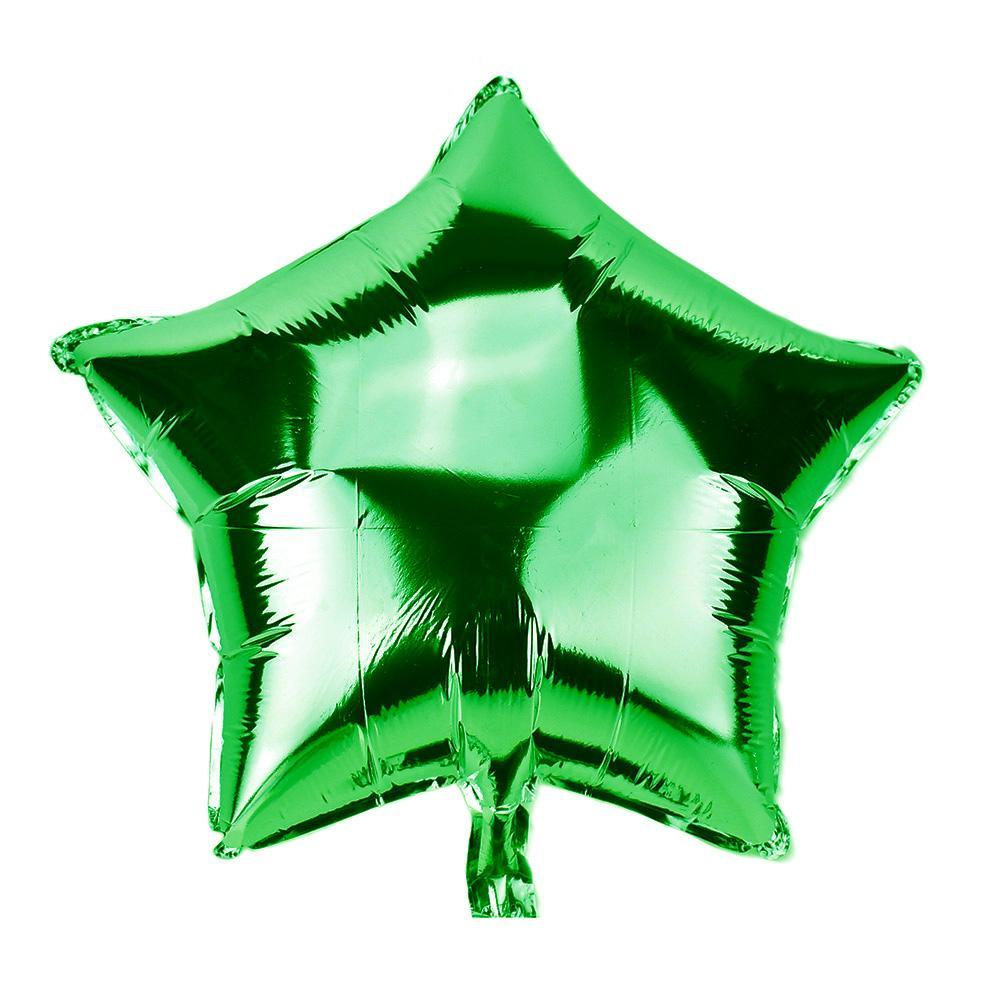 Star Shape Metallic Foil Balloon, 20-Inch, Green