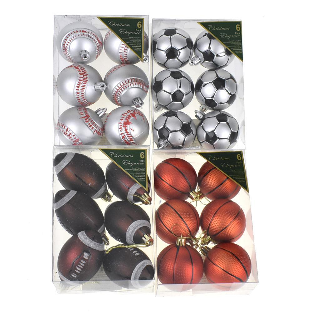 Sports Ball Plastic Christmas Ornaments, 24-Piece