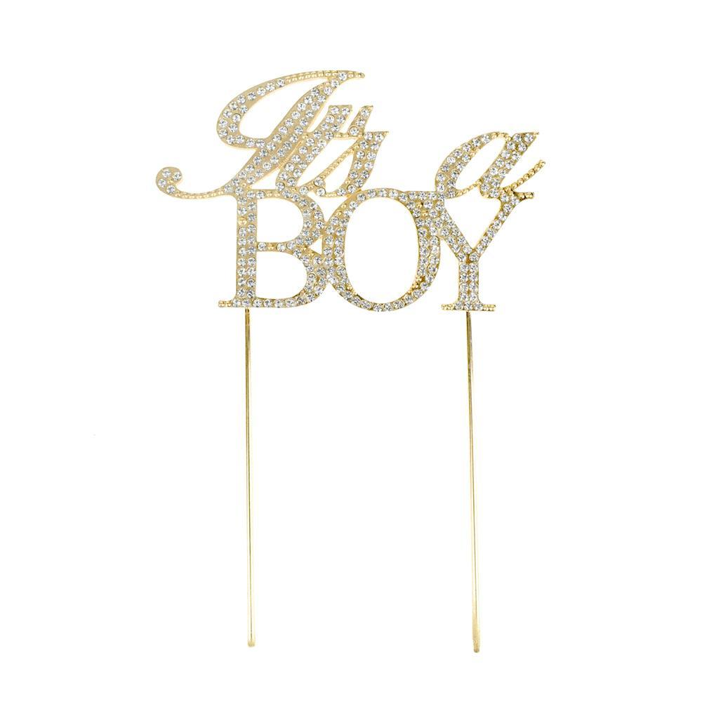 It's A Boy Metal Rhinestone Celebration Cake Topper, Gold