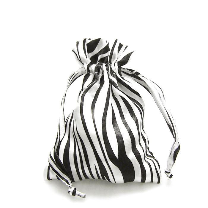 Zebra Stripe Satin Favor Bags, White/Black, 4-Inch x 5-Inch, 12-Piece