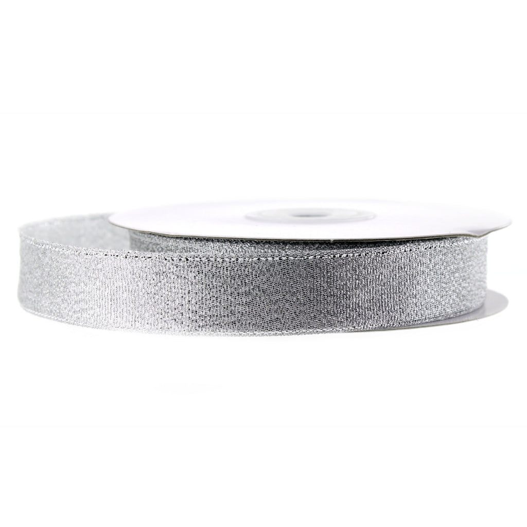 Metallic Taffeta Christmas Ribbon, 5/8-inch, 25-yard, Silver