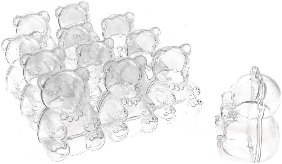 Baby Shower Plastic Teddy Bear Favor Box, 2-1/2-Inch, 12-Count, Clear
