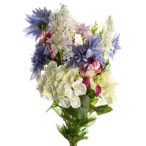 Artificial Satin Peony and Hydrangea Bouquet, Beauty Combination, 31-Inch