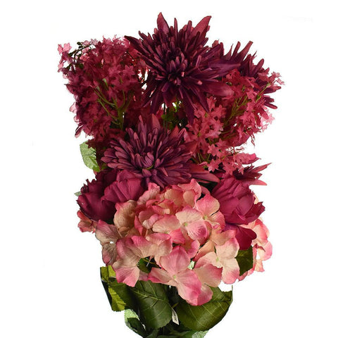 Artificial Satin Peony and Hydrangea Bouquet, Beauty, 31-Inch
