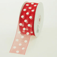 Polka Dot Organza Ribbon, 1-1/2-Inch, 25 Yards