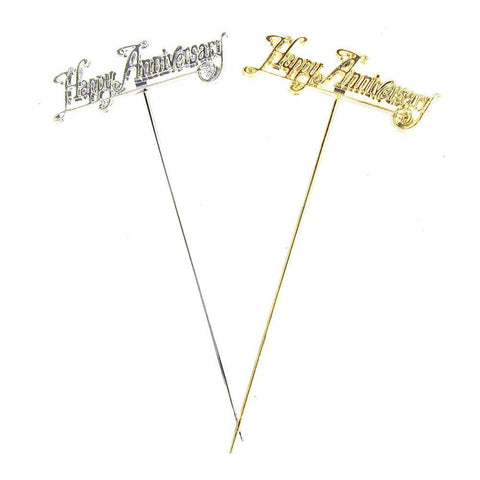"Plastic Chrome ""Happy Anniversary"" Pick, 5-Inch, 12 Count"