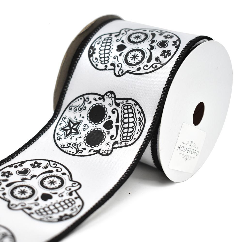 Day of the Dead Sugar Skull Wired Ribbon, White, 2-1/2-Inch
