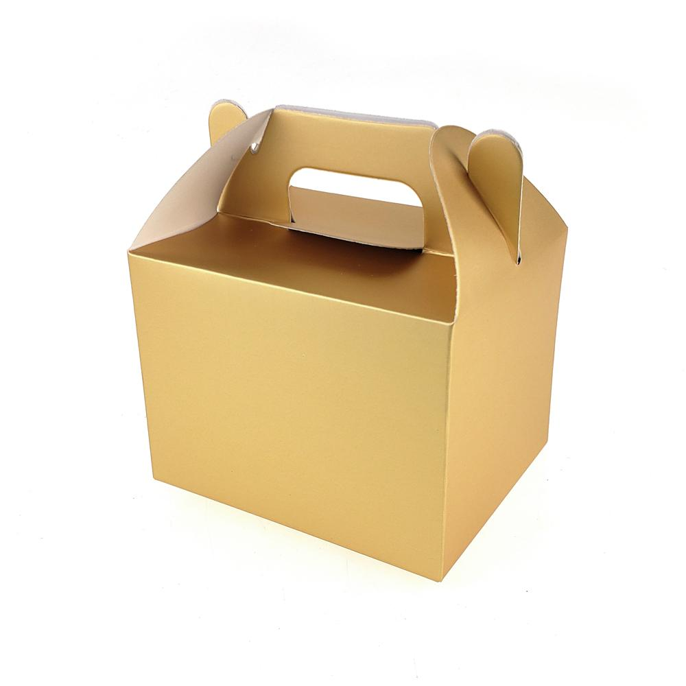 Rectangle Paper Box with Handle, 4-Inch x 3-Inch, 12-Count, Gold