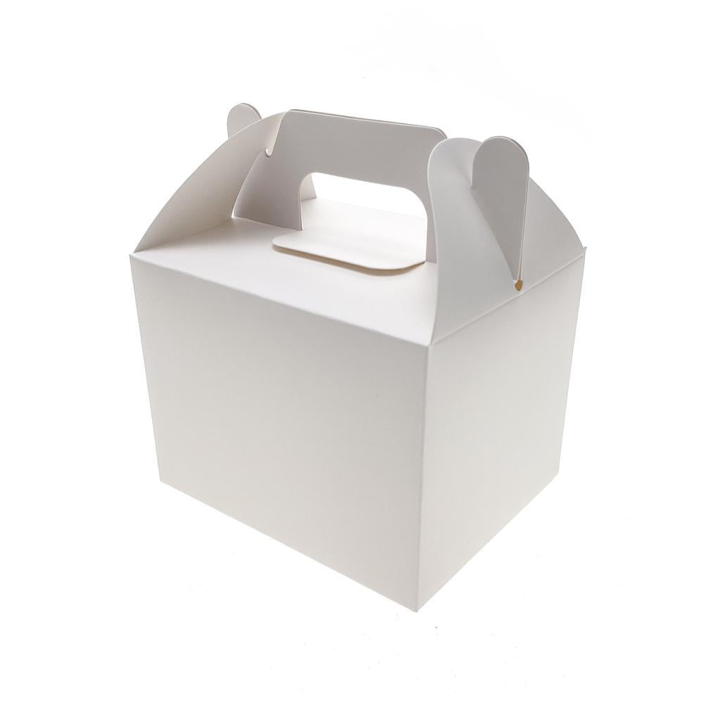 Rectangle Paper Box with Handle, 4-Inch x 3-Inch, 12-Count, White