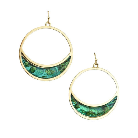 Jewel Toned Accent Circle Drop Dangle Earrings, 1-3/4-Inch