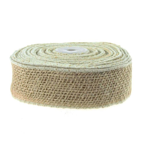 Burlap Jute Ribbon Wired Edge, 2-inch, 10 Yards,, Off White
