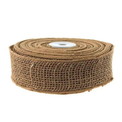 Burlap Jute Ribbon Wired Edge, 2-inch, 10 Yards,, Natural