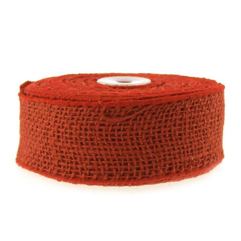 Burlap Jute Ribbon Wired Edge, 2-Inch, 10-yard, Red