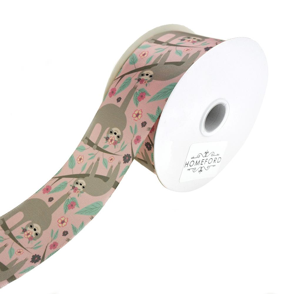 Relaxed Sloth Princess Satin Ribbon, Blush, 1-1/2-Inch, 3-Yard