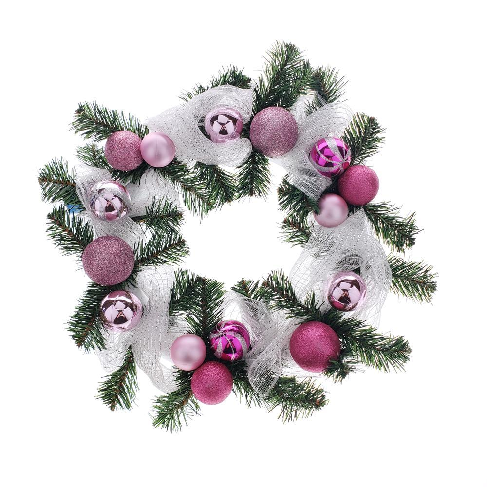 Decorated Styrofoam Christmas Wreath, Pink, 21-Inch