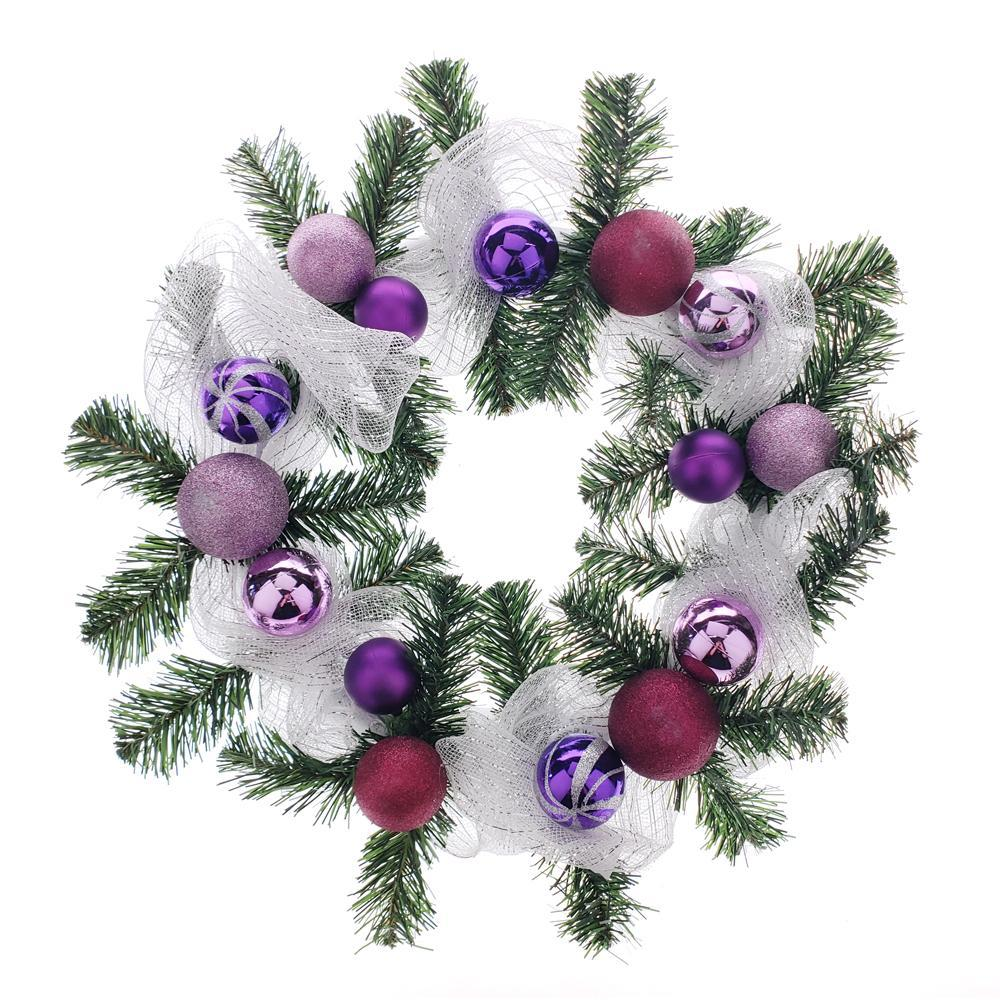 Decorated Styrofoam Christmas Wreath, Purple, 21-Inch