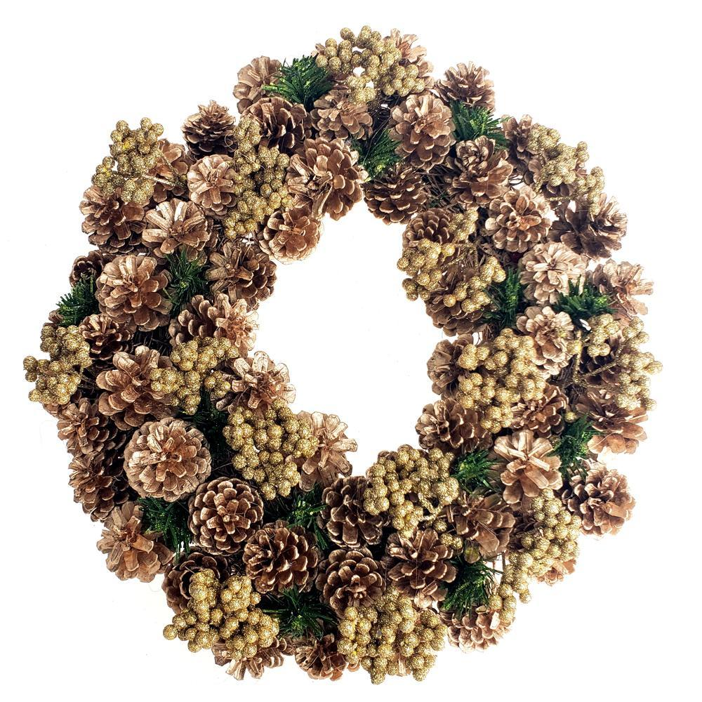 Gold Pine Cones & Glitter Berries Twig Christmas Wreath, Gold, 17-Inch