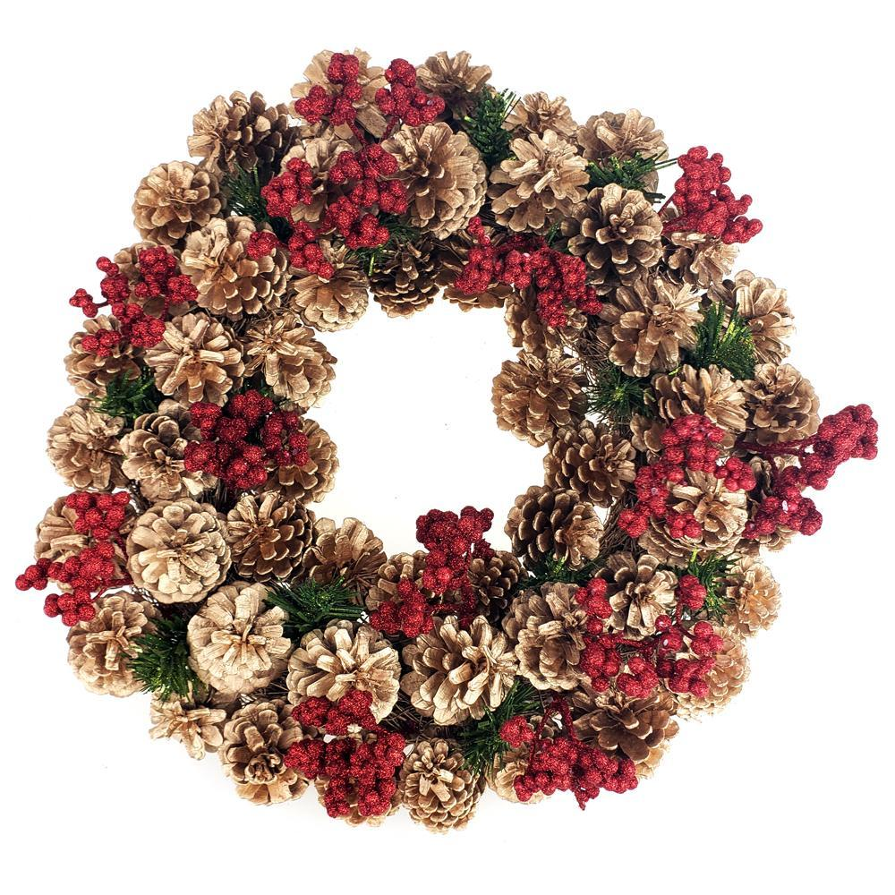 Gold Pine Cones & Glitter Berries Twig Christmas Wreath, Red, 17-Inch