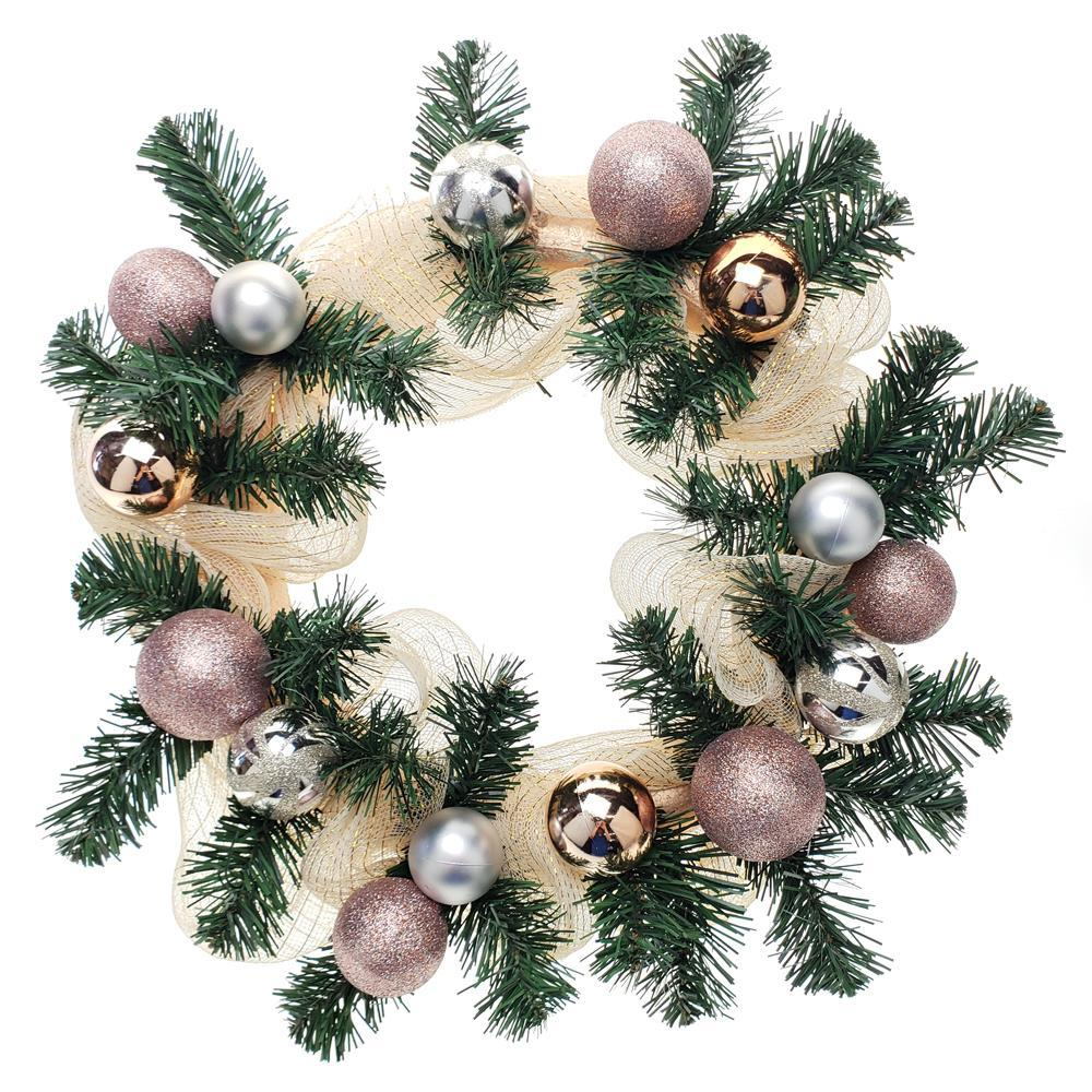 Decorated Mesh Ribbon & Rose Gold Spheres Christmas Wreath, Green/Gold, 21-Inch