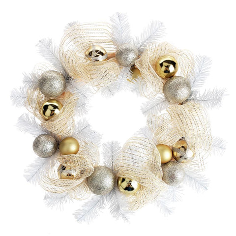 Decorated Gold Mesh Ribbon Christmas Wreath, White/Champagne, 21-Inch