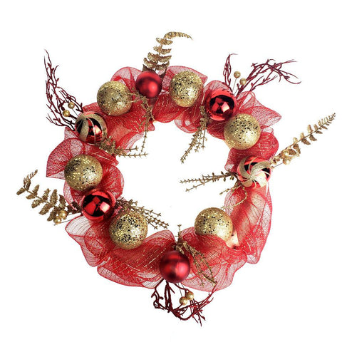 Decorated Mesh Ribbon Glitter Twigs Christmas Wreath, Red/Gold, 21-Inch