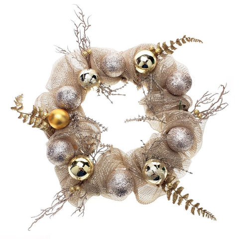 Decorated Mesh Ribbon Glitter Twigs Christmas Wreath, Champagne, 21-Inch