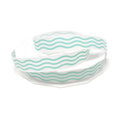 Aqua Waves Coastal Grosgrain Ribbon, White, 5/8-Inch, 20-Yard