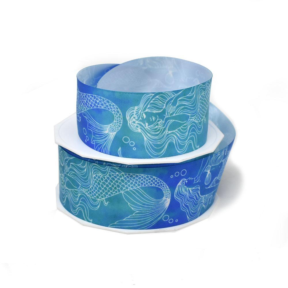 Elegant Mermaid Coastal Satin Ribbon, 1-1/2-Inch, 20-Yard