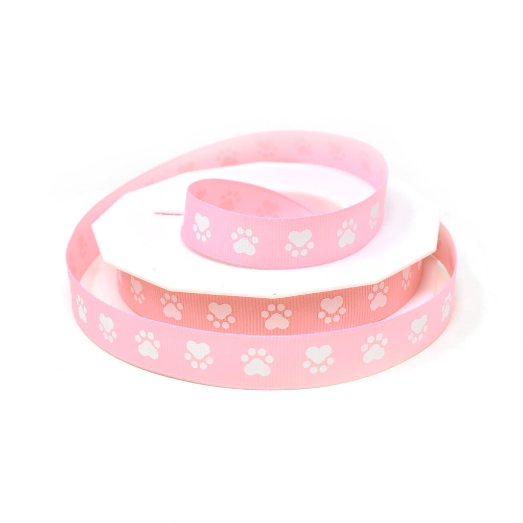 Puppy Paws Precious Pets Grosgrain Ribbon, Pink, 5/8-Inch, 20-Yard