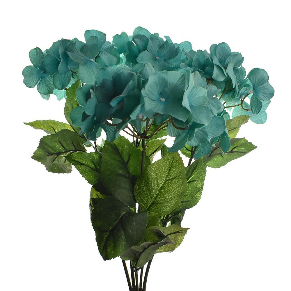 Artificial Hydrangea Spray, Turquoise, 23-1/3-Inch