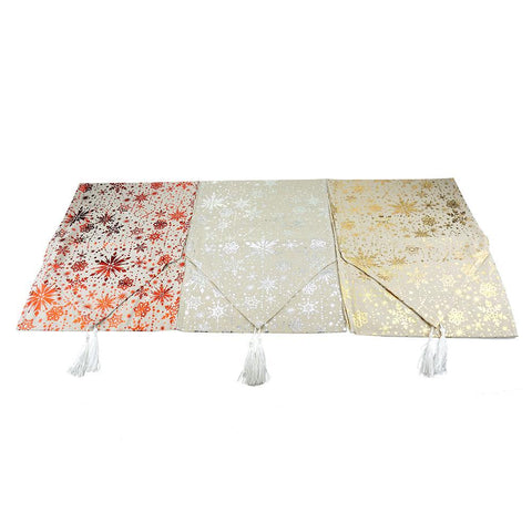 Christmas Snowflake Table Runners with Tassel, Natural, 70-Inch, 3-Piece